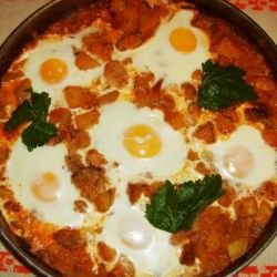 Pork Moussaka with Sunny Side Up Eggs