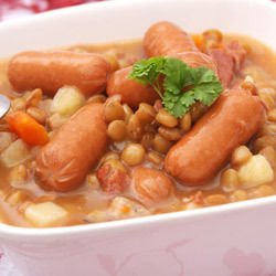 Chickpeas with Sausages and Lentils