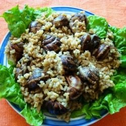 Snails with Rice and Garlic