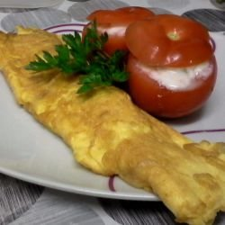 A La Minute Omelette with Stuffed Tomatoes