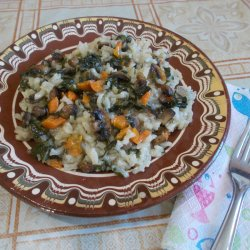 Lean Oven-Baked Rice with Mushrooms and Spinach