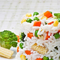 Rice with Steamed Vegetables