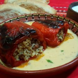 Stuffed Peppers with Mince and Rice in White Sauce