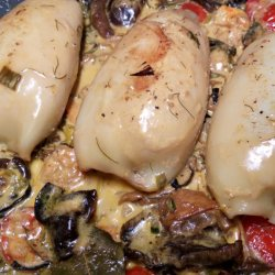Stuffed Squid with Zucchini and Mushrooms