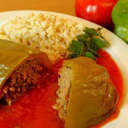 Stuffed Peppers with Rice and Tomatoes