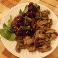 Pork Steaks with Mushrooms and Cherry Jam