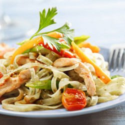 Italian Salad with Spaghetti and Chicken