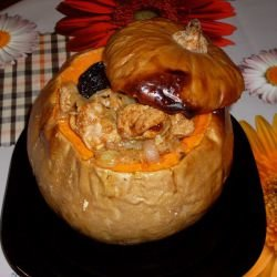 Baked Pumpkin with Meat and Plums for Halloween