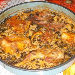 Roasted Rabbit with Rice and Green Onion