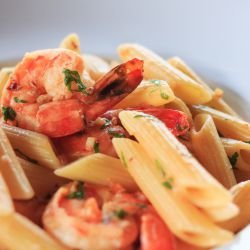 Pasta Arrabiata with Tiger Shrimp