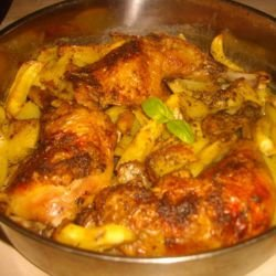 Chicken Legs with Potatoes and Curry in the Oven