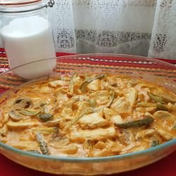 Julienned Chicken with Mushrooms and Cream