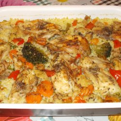 Oven Baked Chicken and Rice with Vegetables