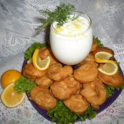 Chicken Bites with Fluffy Lemon Crumbing and Dairy-Garlic Sauce