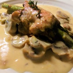 Stuffed Chicken and Asparagus Rolls in Mushroom Sauce