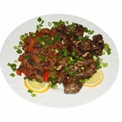 Chicken Hearts with Onions and Mushrooms