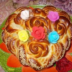 Heart Pita with Roses for St. Valentine`s Day