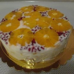 Fruit Cake with Jelled Yoghurt
