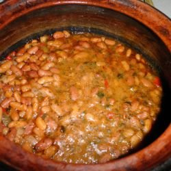 Lean Beans and Veggies in a Clay Pot