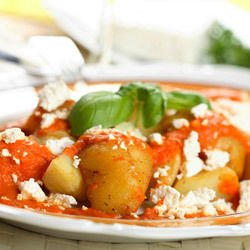 Potatoes with Tomato Sauce and Feta Cheese