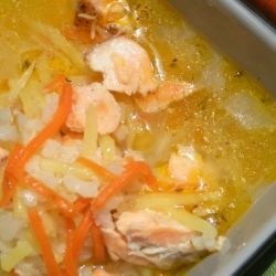 Spring Soup with Salmon and Anise