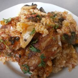 Pork Ribs with Rice and Mushrooms