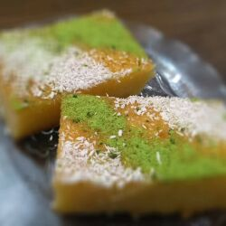 Revani with Pistachios and Coconut Shavings