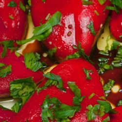 Red Peppers with Garlic and Marinade