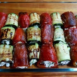 Baked Pepper and Zucchini Rolls with Feta Cheese