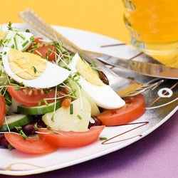 Salad with Tomatoes, Eggs and Sprouts