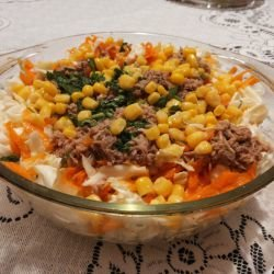 Cabbage Salad with Carrots, Corn and Tuna