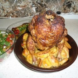 Chicken Sitting on Potatoes