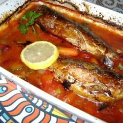 Mackerel in Tomato Sauce with Beans and Pickles