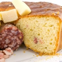 Salty Cake with Cheese and Sausage