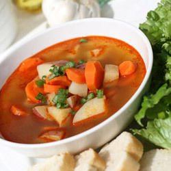 Soup with Carrots, Peas and Potatoes