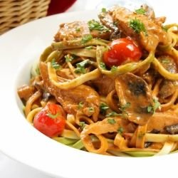 Wine Spaghetti with Chicken and Mushrooms