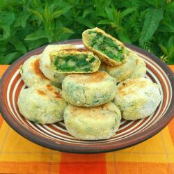 Spinach Patties with Spring onions and Spearmint