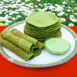 Spinach Pancakes with Wholemeal Flour