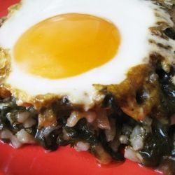 Spinach with Rice and Eggs in the Oven
