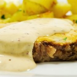 Oven-Baked Steaks with Smoked Cheese