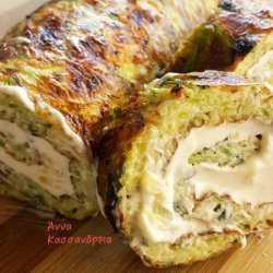 Zucchini roll with cream cheese