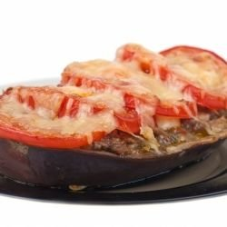 Stuffed Eggplants with Vegetables and Feta Cheese