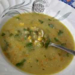 Corn, Pea, Carrot and Onion Soup