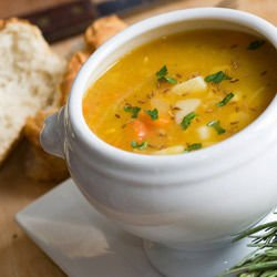 Soup with Salmon and Prawns
