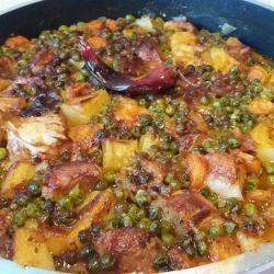 Oven-Baked Pork with Peas and Potatoes