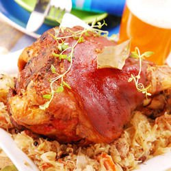Pork Shank Over Sauerkraut