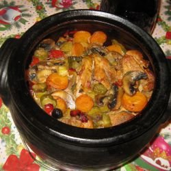 Pork with Vegetables, Pickles and Olives
