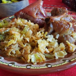 Pork Dish with Sauerkraut and Rice