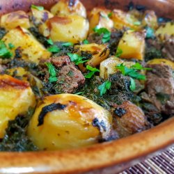Beef with Spinach and Oven Baked Potatos