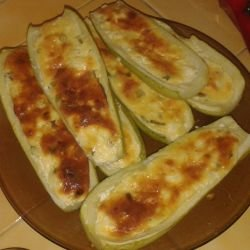 Stuffed Zucchini with Eggs and Feta
